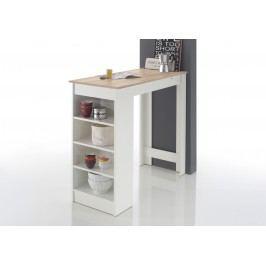 Bartisch In Weiss Mit Tischplatte In Eiche Sonoma Und Seitlichem Regal Stolkom Mojito Weiß Holzwerkstoffe Modern