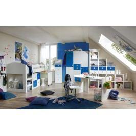 Jugendzimmer Mit Bett 90 X 200 Cm Alpinweiss/ Marineblau Wimex Sunny Holz Modern