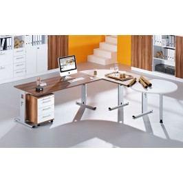 Schreibtischkombination Mit C-Fuss Gestell Silber In Weiss / Zwetschge Hammerbacher Ergo Plus O / Solid Weiß Holz Modern