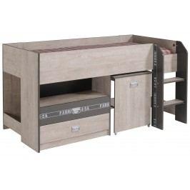 Hochbett Esche/ Grau Mit Aufschrift Parisot Fabric Holz Modern