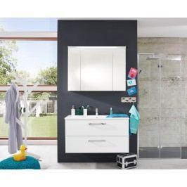 Waschtischunterschrank Weiss Hochglanz 100 Cm Mit Mineralguss Waschbecken Und Spiegelschrank Weiss Trendteam Adamo Weiß Holz Modern