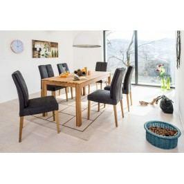 Esstischgruppe Mit Tisch 160 (210) X 90 Eiche Natur Und 6 Polsterstühlen Kunstleder Anthrazit Standard Furniture Karo 1xl / Flynn 2 Holz Modern