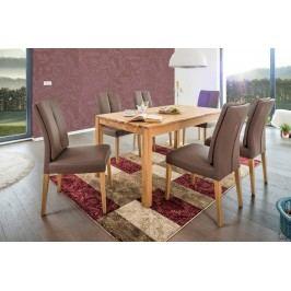 Esstischgruppe Mit Tisch 160 (210) X 90 Eiche Natur Und 6 Polsterstühlen Kunstleder Espresso Standard Furniture Karo 1xl / Flynn 2 Holz Modern