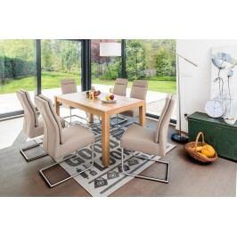 Esstischgruppe Mit Tisch 160 (295) X 90 Eiche Natur Und 6 Freischwinger Kunstleder Schlamm Standard Furniture Kapstadt 3 Xl / Nura Holz Modern