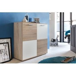 Kommode In Eiche Sägerau Hell/ Weiss Trendteam Compare Holz Modern