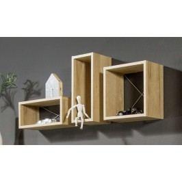 Regal Balkeneiche 3er Set Imv Frame Braun Holz Modern