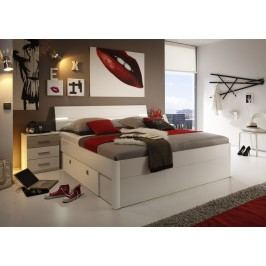 Bett 180 X 200 Cm Mit Nako-Set Weiss/ Sonoma Eiche Mit Beleuchtung Polpower Mars Mdf Modern