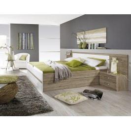 Bett 180 X 200 Cm Mit Nachtkommoden Und Kippaufrahmen Eiche Sanremo Hell/ Alpinweiss Rauch Packs Gandra Holz Modern