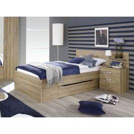 Bett 90 X 200 Cm Mit Nachtkommode Eiche Sonoma Rauch Packs Gandra Holz Modern