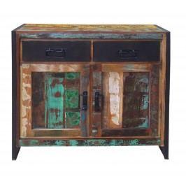 Kommode Recyceltes Altholz Bunt Lackiert Sit-Möbel Bali Metall Vintage