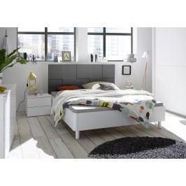 Bett 160 X 200 Cm Weiss/ Anthrazit Matt Lack Mit 3d-Optik Classico Ottica Weiß Holz Modern