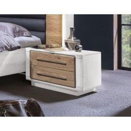 Nachtkommode Asteiche Bianco/ Pinie Weiss Teilmassiv Telmex Elba Holz Modern