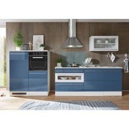 Küchenblock Küchenzeile Blau Weiss Tiefgezogen Hochglanz/ Weiss Matt Mit Elektrogeräten Bega Jazz 2 Holz Modern