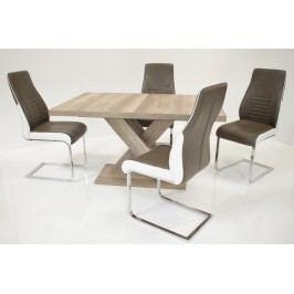Tischgruppe Wildeiche/ Sepia-Braun Top Form Andre We/ Celia Holz