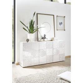 Sideboard Weiss Hochglanz Lack Mit Siebdruck Classico Z-Miro Weiß Holz Modern