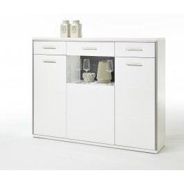 Highboard Weiss Hochglanz Mit Metallrahmen Mca-Furniture Otnert Weiß Modern