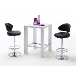 Bartisch 80 X 80 Cm Weiss Mit 2er Set Barstuhl Kunstleder Schwarz Mca-Furniture Gib Chrom Modern