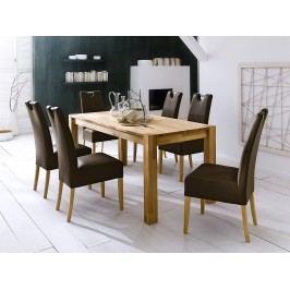 Esszimmer Set Tisch Kernbuche 160 X 90 Cm Mit 6 Stühlen Kunstleder Braun/ Buche Natur Mca-Furniture Ayne Holz Neutral