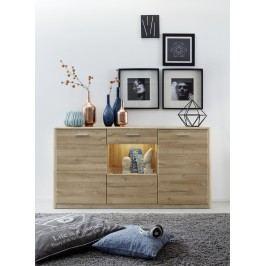 Sideboard In Eiche Bianco Mit Glastür Trendteam Siero Holz Modern