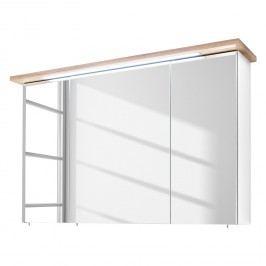 EEK A+, Spiegelschrank Noventa (inkl. Beleuchtung) - Weiß / Riviera Eiche Dekor - 110 cm, Pelipal
