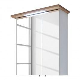 EEK A+, Spiegelschrank Noventa (inkl. Beleuchtung) - Weiß / Riviera Eiche Dekor - 60 cm, Pelipal