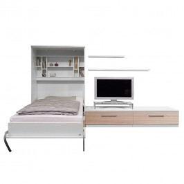 Schrankbett-Kombination Majano - 86 x 205cm - Bonellfederkernmatratze - Weiß / Eiche Sonoma Dekor, Fredriks