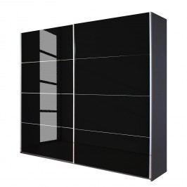 Schwebetürenschrank Quadra - Grau-metallic / Glas Schwarz - Breite x Höhe: 226 x 210 cm, Rauch Packs