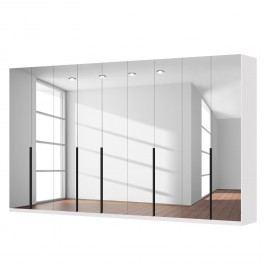 Drehtürenschrank SKØP I - Alpinweiß/ Kristallspiegel - 405 cm (9-türig) - 236 cm - Comfort, SKØP