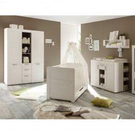 Babyzimmerkombination Louis (3-teilig) - Pinie Struktur Weiß Dekor, Trendteam