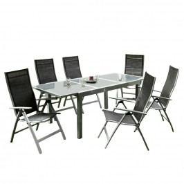 Gartenesssgruppe Carrara (7-teilig) - Aluminium/Schwarz, Merxx