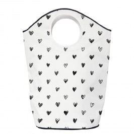 Wäschesammler Simple Love - Webstoff - Schwarz / Weiß, Butter Kings