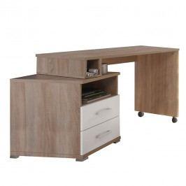 Schreibtisch Corner - Eiche Sonoma/Weiß, Fredriks