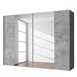 Schwebetürenschrank Cando - Beton Dekor / Spiegel - 300 cm (2-türig), Express Möbel