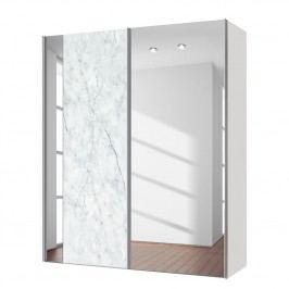 Schwebetürenschrank Cando - Marmor Dekor / Spiegel - 150 cm (2-türig), Express Möbel