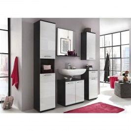 Badezimmerset Smart (5-teilig) - Hochglanz Weiß / Grau, Trendteam
