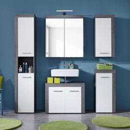 Badezimmerset Miami II (5-teilig) - Weiß / Eiche Rauchsilber Dekor, Trendteam