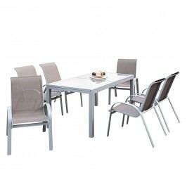 Gartenessgruppe Amalfi IV (7-teilig) - Aluminium - Taupe, Merxx