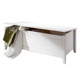Wäschetruhe Cenan - Kiefer massiv - Weiß gebeizt & lackiert, Maison Belfort