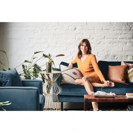 home24 Eva Padberg Collection Sofa Edina 3-Sitzer Dunkelblau Samt 207x81x96 cm