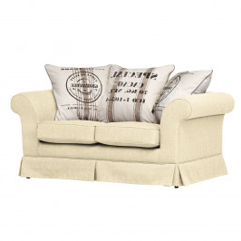 home24 Maison Belfort Sofa Campagne 2-Sitzer Ecru Webstoff 166x71x92 cm