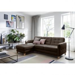 home24 loftscape Ecksofa Princesa Dunkelbraun Echtleder 217x84x157 cm