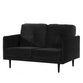 home24 Norrwood Sofa Pigna II 2-Sitzer Schwarz Samt 148x86x94 cm