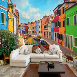 home24 Vliestapete Colorful Canal in Burano