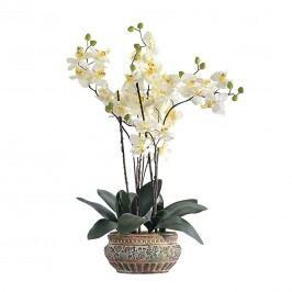 Kunstpflanze Orchideentopf Antik - Textil/Keramik - Weiß/Grün, Pure Day
