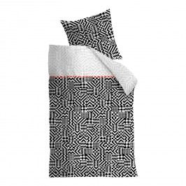 Bettwäsche Kumiko - Baumwollstoff - Schwarz / Weiß - 155 x 220 cm + Kissen 80 x 80 cm, Beddinghouse