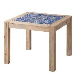 Esstisch Ibiza - Mango massiv / Keramik - Mango / Blau - 95 x 95 cm, ars manufacti