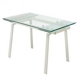 Esstisch Zinola (mit Ausziehfunktion) - Glas / Metall - Schwedisch Weiß, Fredriks