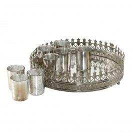 Teelichttablett 9-teilig - Metall/Glas - Silber, Pure Day