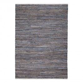 Teppich Meru (Handgewebt) - Webstoff- Blau / Gelb, Top Square