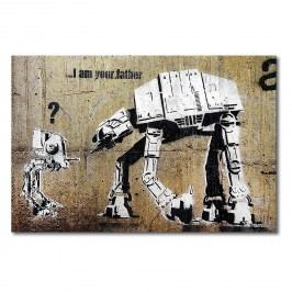 Leinwandbild Banksy No.9 - Leinwand - Beige / Weiß, Wandbilder XXL